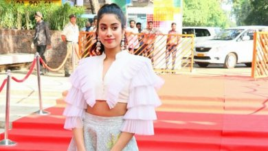 Photo of Janhvi Kapoor misses the mark in this ruffled crop top and long skirt