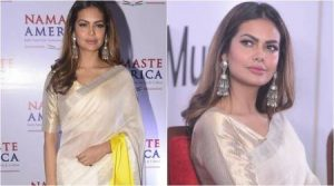 Photo of Esha Gupta's elegant colour block sari