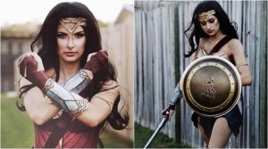 Photo of Make-up artist Rhylee Passfield created the Wonder Woman costume using a yoga mat
