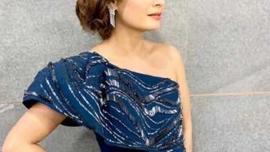 Photo of Dia Mirza looks elegant in this structured navy blue ruffle gown