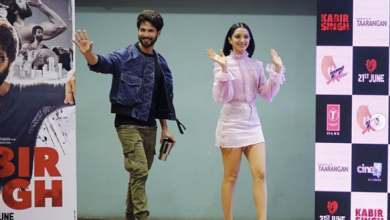 Photo of Shahid Kapoor and Kiara Advani at the launch of their new song of movie Kabir Singh