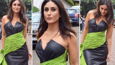 Photo of Kareena Kapoor looks bold yet stylish in this strapless faux leather dress