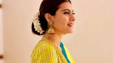 Photo of Kajol looked gorgeous in a yellow sari on the occasion of Durga Puja