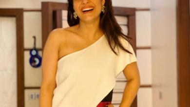 Kajol looks stunning in a one shoulder monochrome jumpsuit